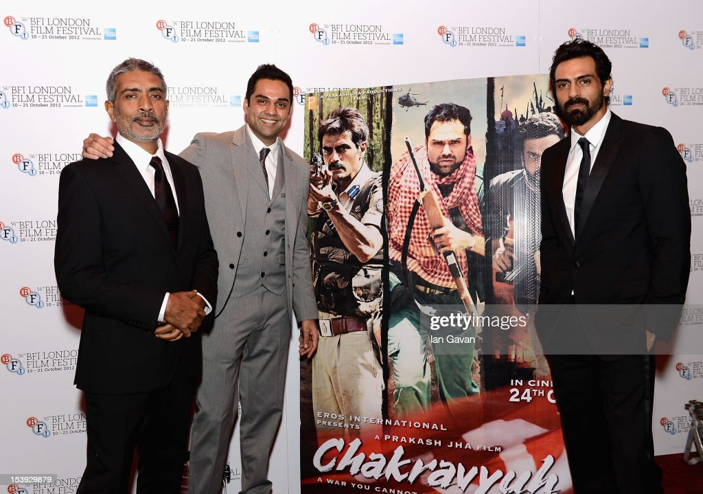 Director Prakash Jha and actors <a gi-track='captionPersonalityLinkClicked' href=/galleries/search?phrase=Abhay+Deol&family=editorial&specificpeople=5377911 ng-click='$event.stopPropagation()'>Abhay Deol</a> and <a gi-track='captionPersonalityLinkClicked' href=/galleries/search?phrase=Arjun+Rampal&family=editorial&specificpeople=684118 ng-click='$event.stopPropagation()'>Arjun Rampal</a> attend the 'Chakravyuh' premiere during the 56th BFI London Film Festival at the Empire Leicester Square on October 11, 2012 in London, England.