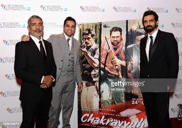 Director Prakash Jha and actors Abhay Deol and Arjun Rampal attend the 'Chakravyuh' premiere during the 56th BFI London Film Festival at the Empire...