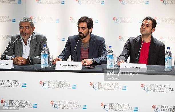 Director Prakash Jha and actors Arjun Rampal and Abhay Deol attend the 'Chakravyuh' press conference during the 56th BFI London Film Festival at the...