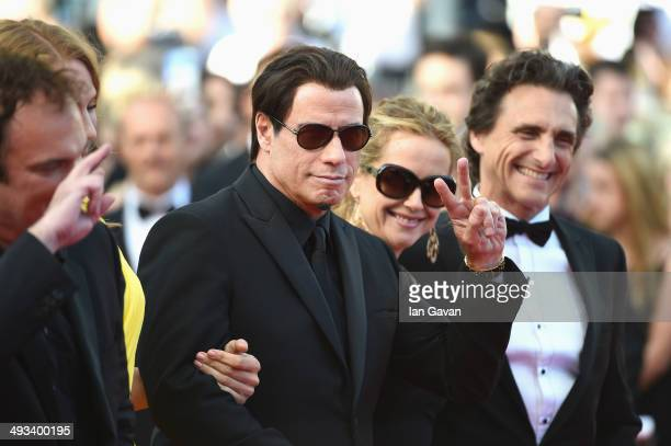 Director Quentin Tarantino actors John Travolta Kelly Preston Uma Thurman and producer Lawrence Bender attend the 'Clouds Of Sils Maria' premiere...