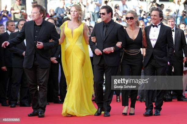 Director Quentin Tarantino actors Uma Thurman John Travolta Kelly Preston and producer Lawrence Bender attend the 'Clouds Of Sils Maria' premiere...