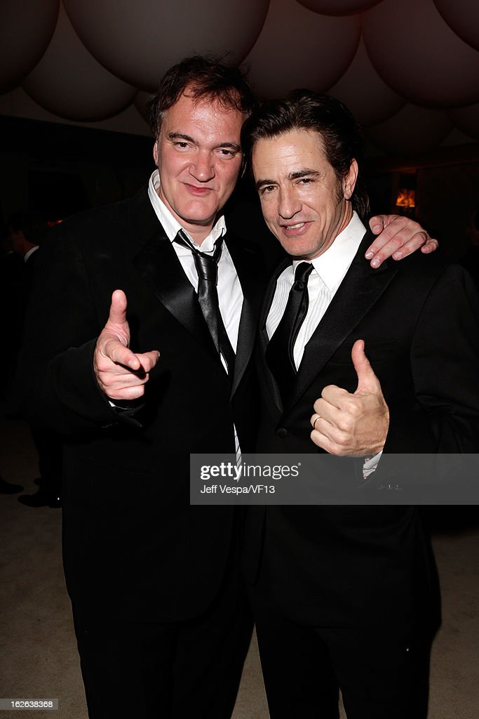 Director Quentin Tarantino and actor Dermot Mulroney attend the 2013 Vanity Fair Oscar Party hosted by Graydon Carter at Sunset Tower on February 24, 2013 in West Hollywood, California.