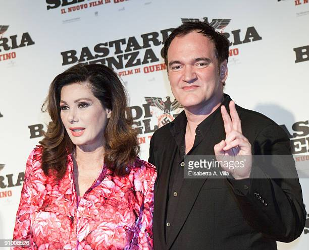 Director Quentin Tarantino and actress Edwige Fenech attend 'Inglourious Basterds' Premiere at the Warner Cinema on September 21 2009 in Rome Italy