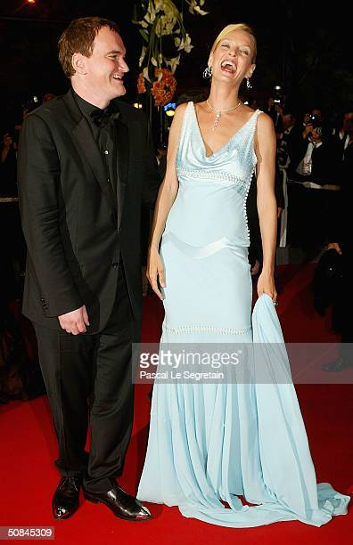Director Quentin Tarantino and actress Uma Thurman arrive to the premiere of 'Kill Bill II' at the Palais des Festivals during the 57th Annual...