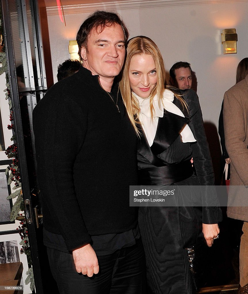 Director <a gi-track='captionPersonalityLinkClicked' href=/galleries/search?phrase=Quentin+Tarantino&family=editorial&specificpeople=171796 ng-click='$event.stopPropagation()'>Quentin Tarantino</a> and actress <a gi-track='captionPersonalityLinkClicked' href=/galleries/search?phrase=Uma+Thurman&family=editorial&specificpeople=171973 ng-click='$event.stopPropagation()'>Uma Thurman</a> attend the after party for a screening 'Django Unchained' hosted by The Weinstein Company With The Hollywood Reporter, Samsung Galaxy And The Cinema Society at The High Line Room in The Standard Hotel on December 11, 2012 in New York City.