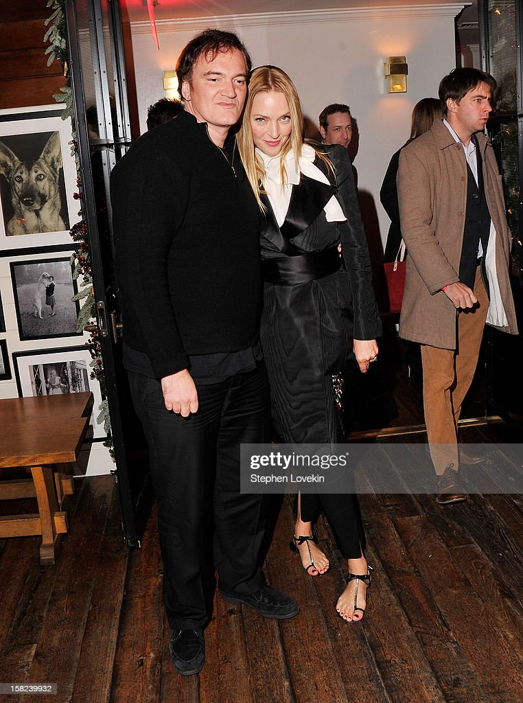 Director Quentin Tarantino and actress Uma Thurman attend the after party for a screening 'Django Unchained' hosted by The Weinstein Company With The Hollywood Reporter, Samsung Galaxy And The Cinema Society at The High Line Room in The Standard Hotel on December 11, 2012 in New York City.
