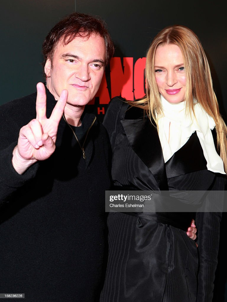 Director Quentin Tarantino and actress Uma Thurman attend The Weinstein Company With The Hollywood Reporter, Samsung Galaxy And The Cinema Society Host A Screening Of 'Django Unchained' at Ziegfeld Theater on December 11, 2012 in New York City.