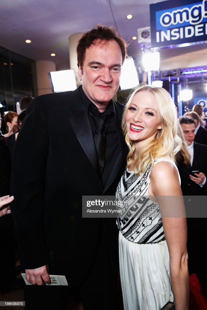Director <a gi-track='captionPersonalityLinkClicked' href=/galleries/search?phrase=Quentin+Tarantino&family=editorial&specificpeople=171796 ng-click='$event.stopPropagation()'>Quentin Tarantino</a> (L) and guest arrive at the 70th Annual Golden Globe Awards held at The Beverly Hilton Hotel on January 13, 2013 in Beverly Hills, California.