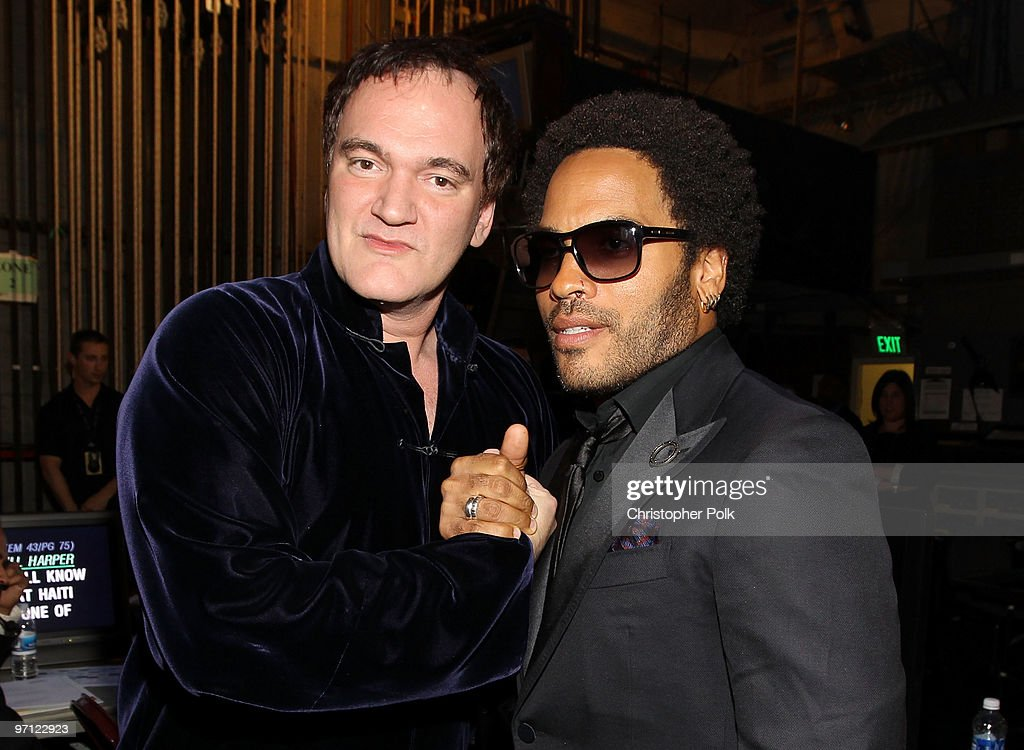 Director <a gi-track='captionPersonalityLinkClicked' href=/galleries/search?phrase=Quentin+Tarantino&family=editorial&specificpeople=171796 ng-click='$event.stopPropagation()'>Quentin Tarantino</a> and musician <a gi-track='captionPersonalityLinkClicked' href=/galleries/search?phrase=Lenny+Kravitz&family=editorial&specificpeople=171613 ng-click='$event.stopPropagation()'>Lenny Kravitz</a> backstage during the 41st NAACP Image awards held at The Shrine Auditorium on February 26, 2010 in Los Angeles, California.