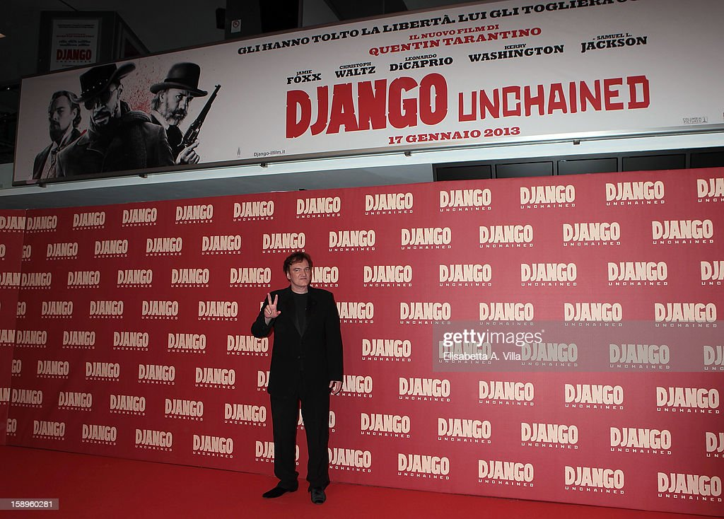 Director Quentin Tarantino attends 'Django Unchained' premiere at Cinema Adriano on January 4, 2013 in Rome, Italy.