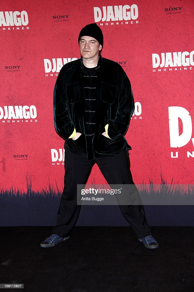 Director <a gi-track='captionPersonalityLinkClicked' href=/galleries/search?phrase=Quentin+Tarantino&family=editorial&specificpeople=171796 ng-click='$event.stopPropagation()'>Quentin Tarantino</a> attends the 'Django Unchained' Berlin Photocall at Hotel de Rome on January 8, 2013 in Berlin, Germany.