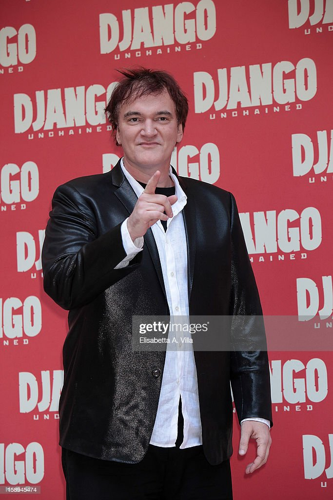 Director <a gi-track='captionPersonalityLinkClicked' href=/galleries/search?phrase=Quentin+Tarantino&family=editorial&specificpeople=171796 ng-click='$event.stopPropagation()'>Quentin Tarantino</a> attends the 'Django Unchained' photocall at the Hassler Hotel on January 4, 2013 in Rome, Italy.