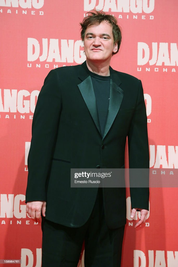 Director <a gi-track='captionPersonalityLinkClicked' href=/galleries/search?phrase=Quentin+Tarantino&family=editorial&specificpeople=171796 ng-click='$event.stopPropagation()'>Quentin Tarantino</a> attends the 'Django Unchained' premiere at Cinema Adriano on January 4, 2013 in Rome, Italy.