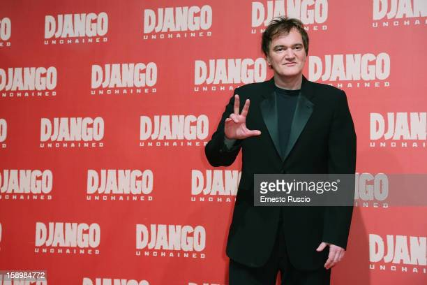 Director Quentin Tarantino attends the 'Django Unchained' premiere at Cinema Adriano on January 4 2013 in Rome Italy