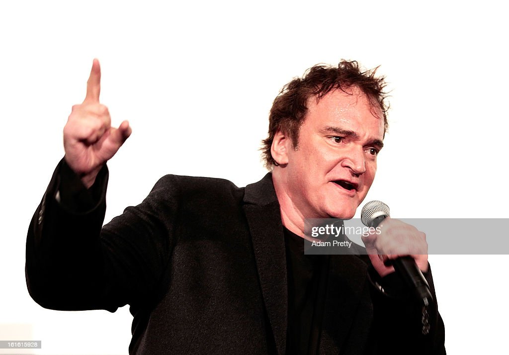 Director <a gi-track='captionPersonalityLinkClicked' href=/galleries/search?phrase=Quentin+Tarantino&family=editorial&specificpeople=171796 ng-click='$event.stopPropagation()'>Quentin Tarantino</a> attends the special screening of 'Django Unchained' at Shinjuku Piccadilly on February 13, 2013 in Tokyo, Japan. The film will open on March 1 in Japan.