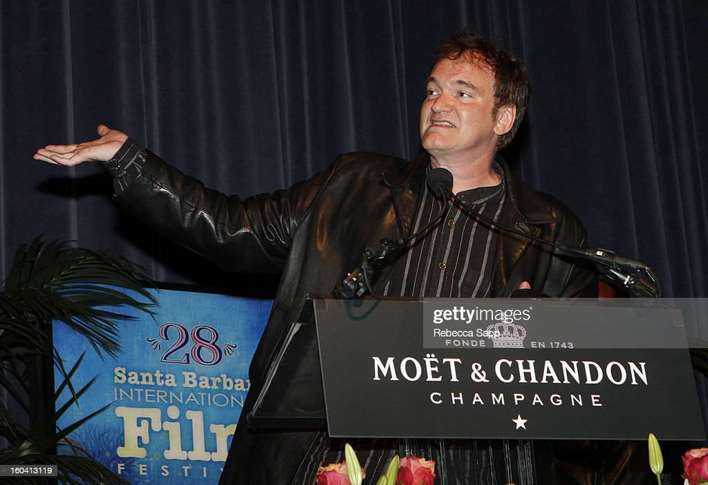 Director <a gi-track='captionPersonalityLinkClicked' href=/galleries/search?phrase=Quentin+Tarantino&family=editorial&specificpeople=171796 ng-click='$event.stopPropagation()'>Quentin Tarantino</a> attends the the American Riviera Award at The Santa Barbara International Film Festival on January 30, 2013 in Santa Barbara, California