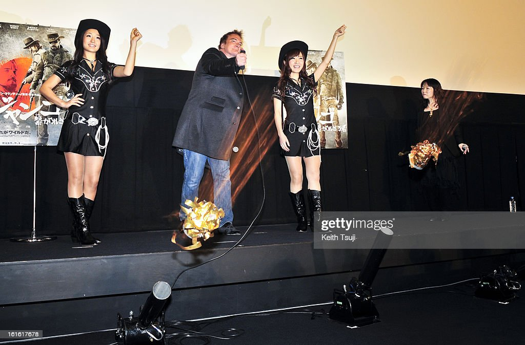 Director Quentin Tarantino fires the chocolates to the audiences before the special screening of 'Django Unchained' at Shinjuku Piccadilly on February 13, 2013 in Tokyo, Japan. The film will open on March 1 in Japan.