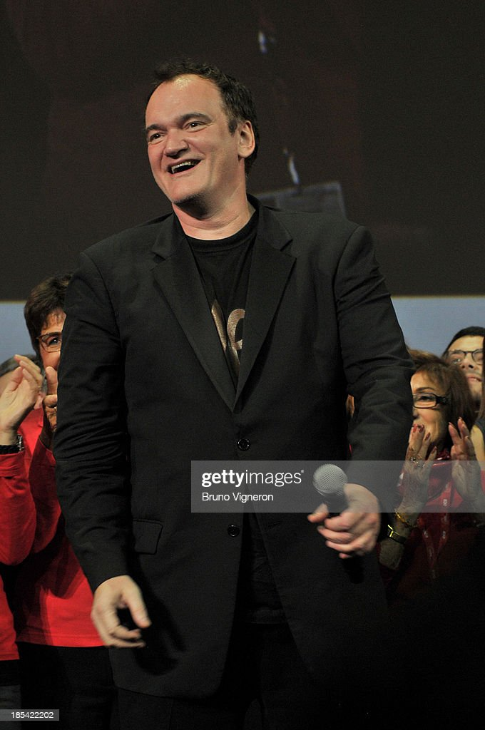 Director <a gi-track='captionPersonalityLinkClicked' href=/galleries/search?phrase=Quentin+Tarantino&family=editorial&specificpeople=171796 ng-click='$event.stopPropagation()'>Quentin Tarantino</a> on stage during the closing ceremony of the 'Lumiere 2013, Grand Lyon Film Festival' on October 20, 2013 in Lyon, France.