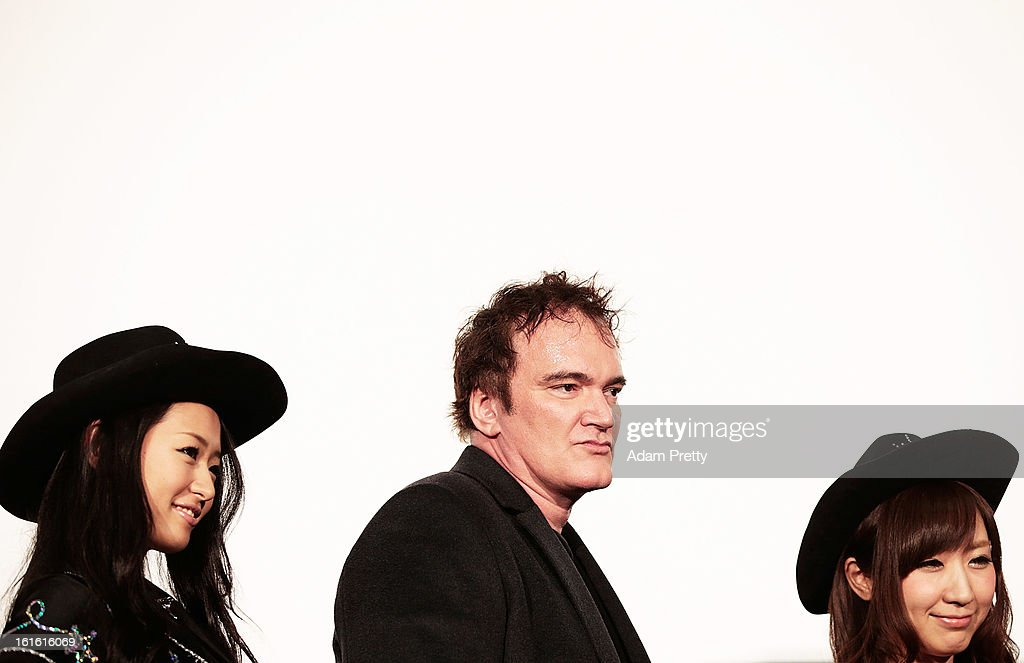 Director <a gi-track='captionPersonalityLinkClicked' href=/galleries/search?phrase=Quentin+Tarantino&family=editorial&specificpeople=171796 ng-click='$event.stopPropagation()'>Quentin Tarantino</a> poses for photos before the special screening of 'Django Unchained' at Shinjuku Piccadilly on February 13, 2013 in Tokyo, Japan. The film will open on March 1 in Japan.