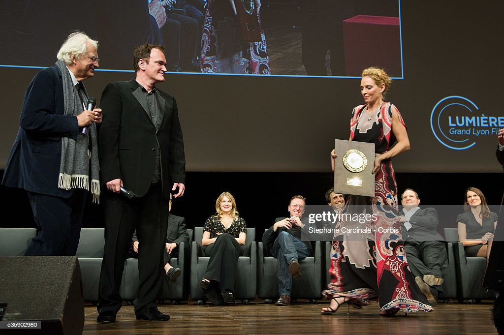 US Director Quentin Tarantino received the Lumiere Award by Uma Thurman, during the 5th Lumiere Film Festival, in Lyon.