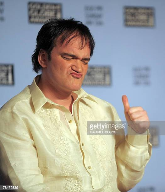 US director Quentin Tarantino thumbs up during the 65th Annual Golden Globe Nominations ceremony 13 December 2007 at the Beverly Hilton in Beverly...