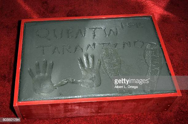Director Quentin Tarantino's hands and footprints at TCL Chinese Theatre on January 5 2016 in Hollywood California
