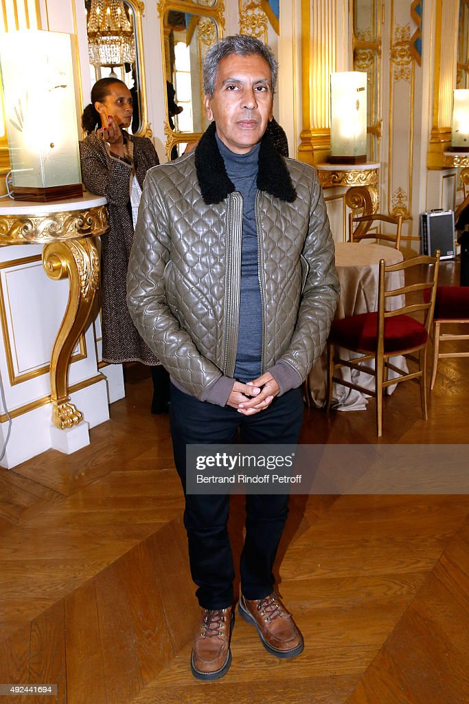 Director Rachid Bouchareb attends Actor Harvey Keitel receives the Medal of Commander of Arts and Letters at Ministere de la Culture on October 13, 2015 in Paris, France.