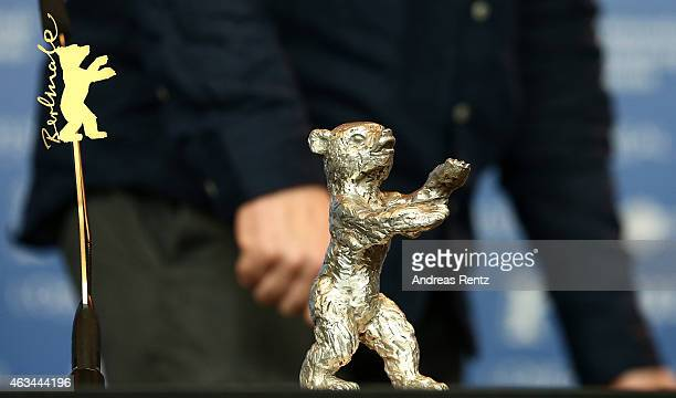Director Radu Jude is seen with the silver bear for the best director for his movie 'Aferim' at the Award Winners press conference during the 65th...