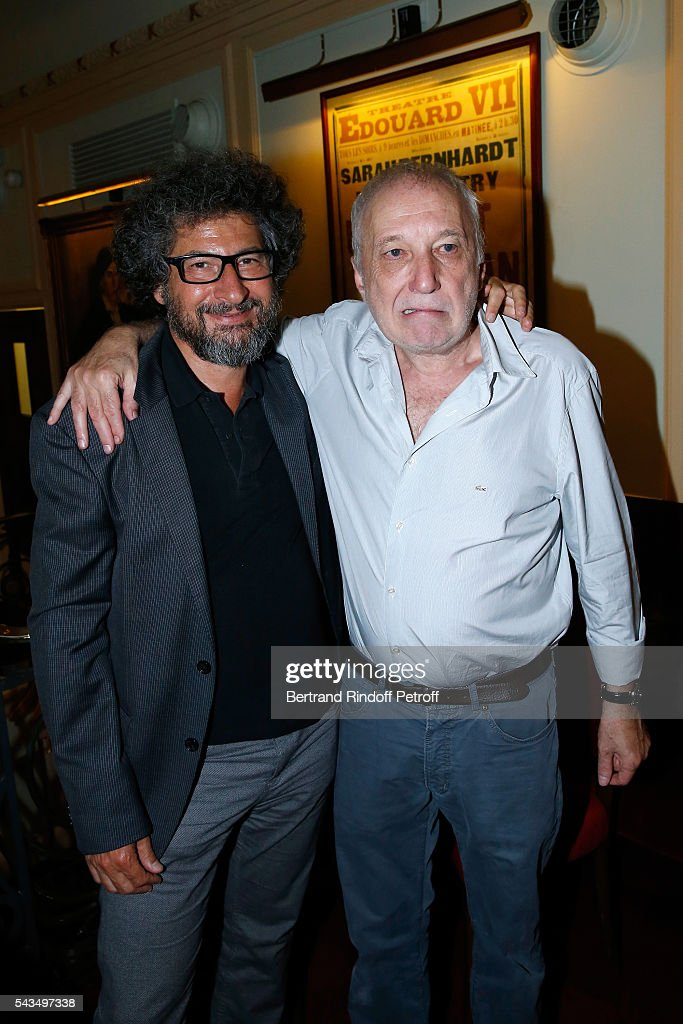 Director Radu Mihaileanu and actor of the piece Francois Berleand attend 'Du vent dans les branches de Sassafras' Theater Play Live on France 2 TV Chanel. Held at Theatre Edouard VII on June 28, 2016 in Paris, France.