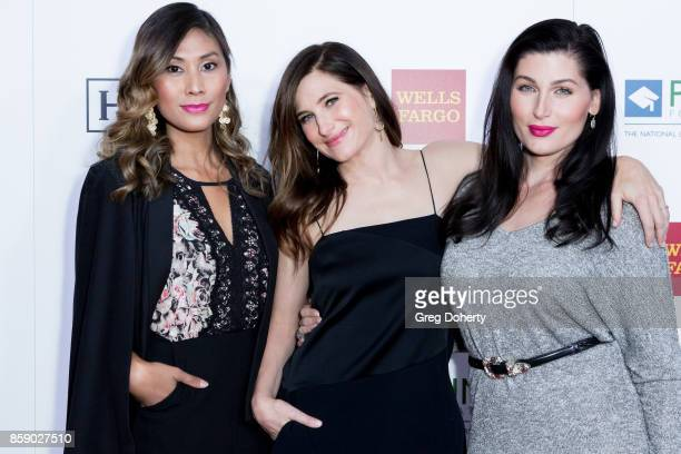 Director Rain Valdez actresses Kathryn Hahn and Trace Lysette arrive for the Point Honors Los Angeles at The Beverly Hilton Hotel on October 7 2017...