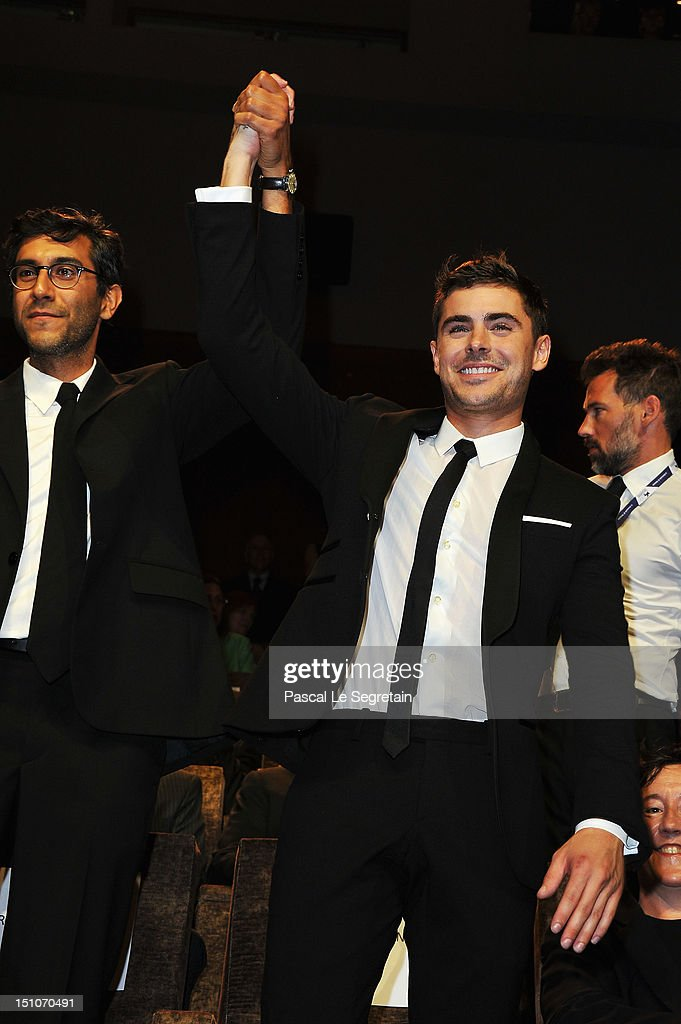 Director Ramin Bahrani (L) and actor <a gi-track='captionPersonalityLinkClicked' href=/galleries/search?phrase=Zac+Efron&family=editorial&specificpeople=533070 ng-click='$event.stopPropagation()'>Zac Efron</a> attend the 'At Any Price' premiere during the 69th Venice Film Festival at the Palazzo del Cinema on August 31, 2012 in Venice, Italy.