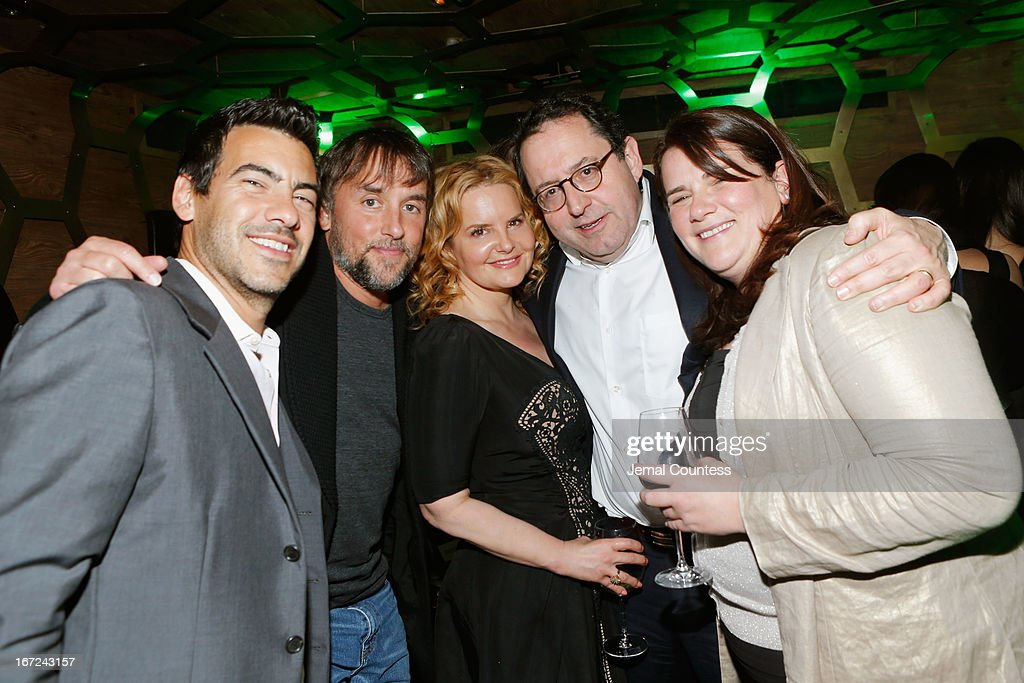 Director Ramin Bahrani (L), director and screenwriter Richard Linklater (2nd L), agent Beth Swofford, co-founder and co-producer of Sony Pictures Classics Michael Barker (2nd R) and producer producer Sara Woodhatch (R) attend the Tribeca Film Festival 2013 After Party 'Before Midnight' sponsored by Heineken on April 22, 2013 in New York City.