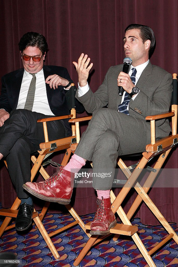 Director Ramon Coppola and actor <a gi-track='captionPersonalityLinkClicked' href=/galleries/search?phrase=Jason+Schwartzman&family=editorial&specificpeople=216351 ng-click='$event.stopPropagation()'>Jason Schwartzman</a> speak at the Intel and W Hotels present Four Stories Film Series at W Hotel Los Angeles - Westwood on December 4, 2012 in Westwood, California.