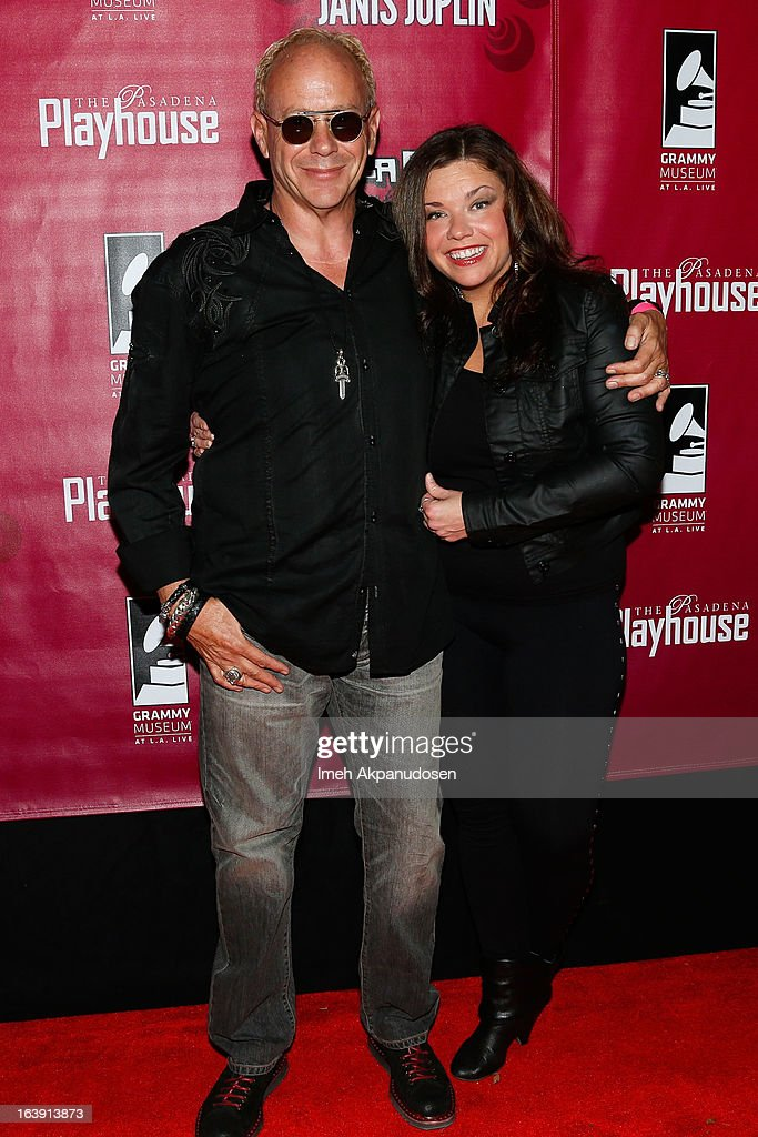 Director Randy Johnson (L) and actress Mary Bridget Davies attend the opening night of 'One Night With Janis Joplin' at Pasadena Playhouse on March 17, 2013 in Pasadena, California.