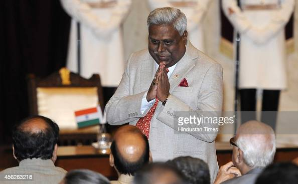 Director Ranjit Sinha with Union Minister of Home Affairs Raj Nath Singh LK Advani Anant Kumar during the swearingin ceremony of Justice H L Dattu at...