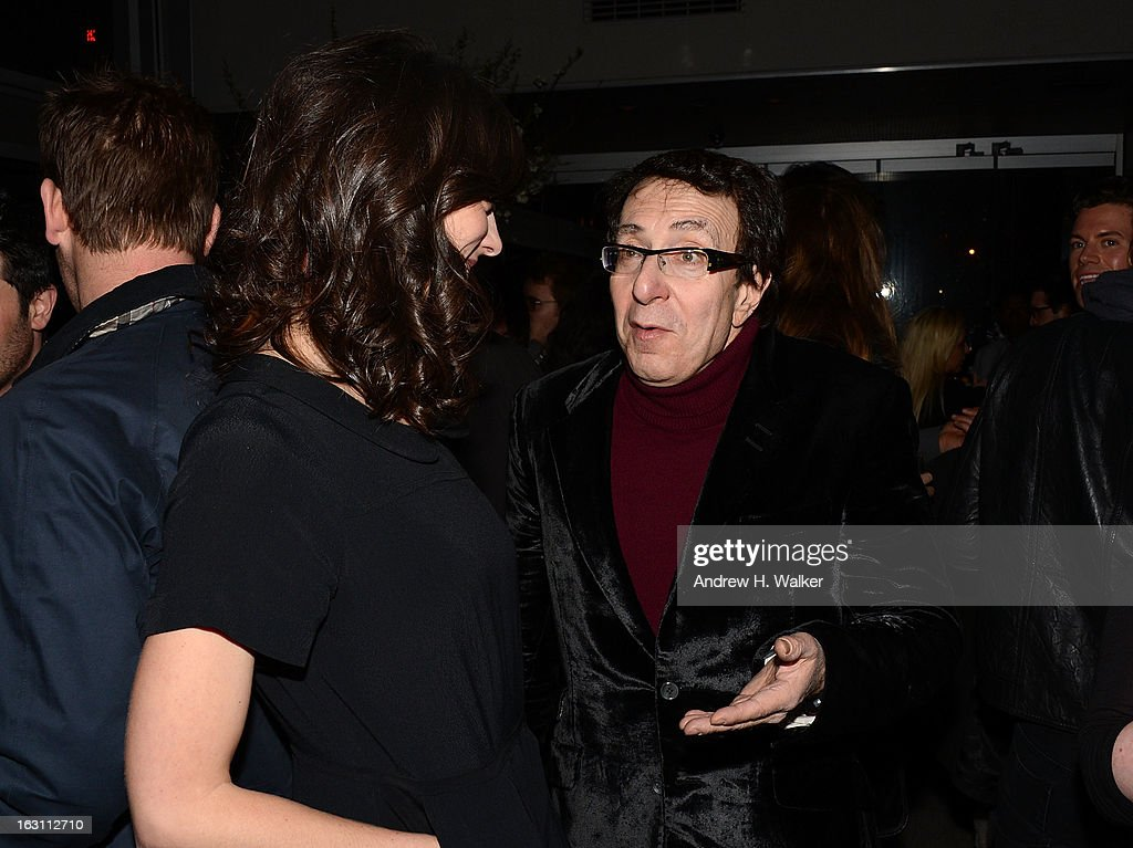 Director Rebecca Thomas and producer Richard Neustadter talk at the after party for The Cinema Society & Make Up For Ever screening of 'Electrick Children' at Hotel Americano on March 4, 2013 in New York City.