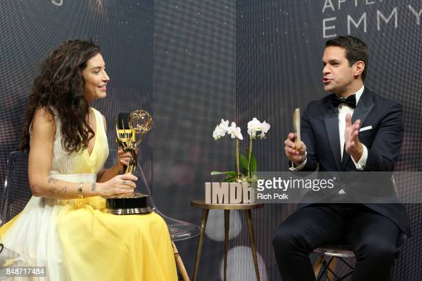 Director Reed Morano winner of the award for Outstanding Directing in a Drama Series for 'The Handmaid's Tale' and host Dave Karger attend IMDb LIVE...
