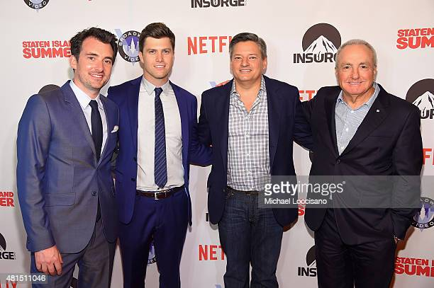 Director Rhys Thomas actor/writer Colin Jost Ted Sarandos Netflix Chief Content Officer and Producer Lorne Michaels attend the 'Staten Island Summer'...