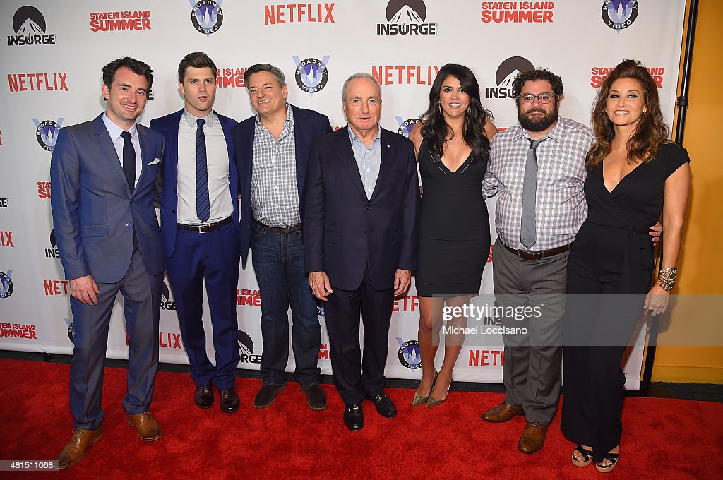 Director Rhys Thomas, actor/writer Colin Jost, Ted Sarandos, Netflix Chief Content Officer, Producer Lorne Michaels, actress Cecily Strong, actor Bobby Moynihan and actress Gina Gershon attend the 'Staten Island Summer' New York Premiere at Sunshine Landmark on July 21, 2015 in New York City.