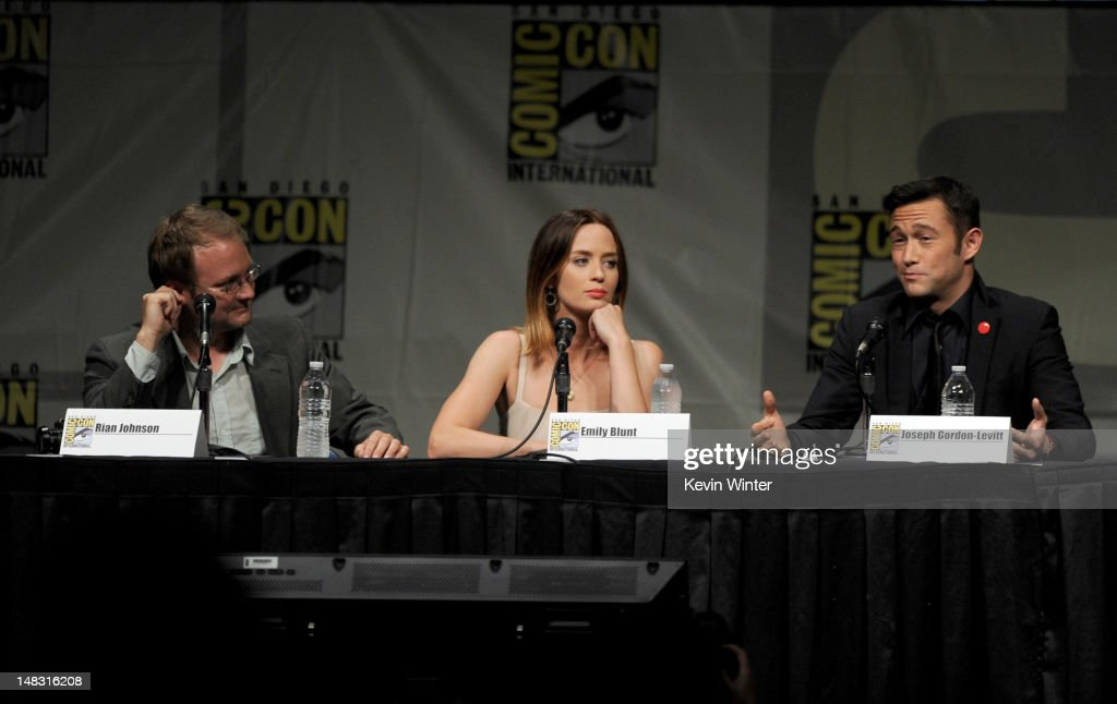 Director Rian Johnson, actors Emily Blunt, and Joseph Gordon-Levitt speak during Sony's 'Looper' panel during Comic-Con International 2012 at San Diego Convention Center on July 13, 2012 in San Diego, California.