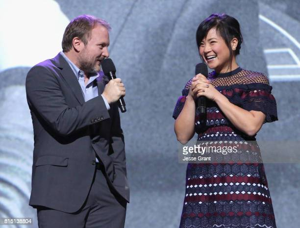 Director Rian Johnson and actor Kelly Marie Tran of STAR WARS THE LAST JEDI took part today in the Walt Disney Studios live action presentation at...
