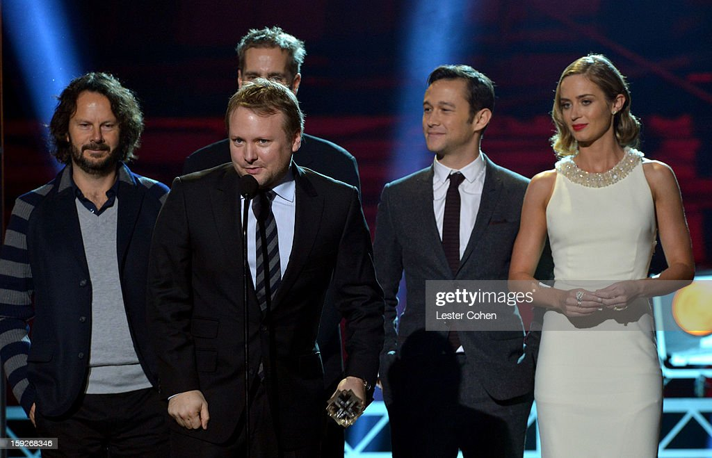 Director Rian Johnson (C), producers Ram Bergman and Peter Schlessel and actors Joseph Gordon-Levitt and Emily Blunt speak onstage during the 18th Annual Critics' Choice Movie Awards at The Barker Hanger on January 10, 2013 in Santa Monica, California.