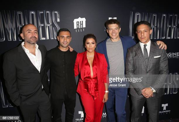 Director Ricardo de Montreuil actor Gabriel Chavarria actress Eva Longoria producer Jason Blum and actor Theo Rossi attend the premiere of BH Tilt's...