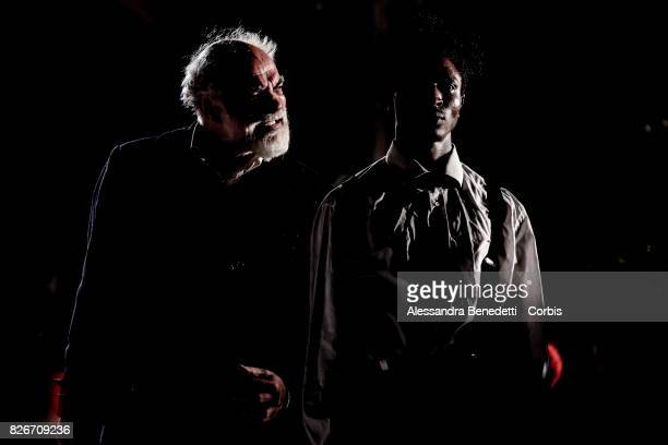 Director Riccardo Vannuccini and Lamin Njie from Gambia perform AfricaBar stage show on July 31 2017 in Rome Italy Aim of this project was to give...