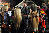 Director Rich Correll interacts with his actors on the set of 'Mostly Ghostly' at the Universal Studio Elm Street lot