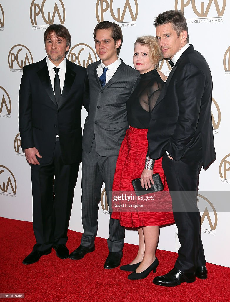 Director Richard Linklater, actor Ellar Coltrane, producer Cathleen Sutherland and actor Ethan Hawke attend the 26th Annual Producers Guild of America Awards at the Hyatt Regency Century Plaza on January 24, 2015 in Los Angeles, California.