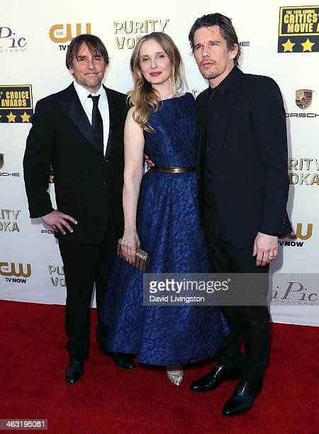 Director Richard Linklater actress Julie Delpy and actor Ethan Hawke attend the 19th Annual Critics' Choice Movie Awards at Barker Hangar on January...