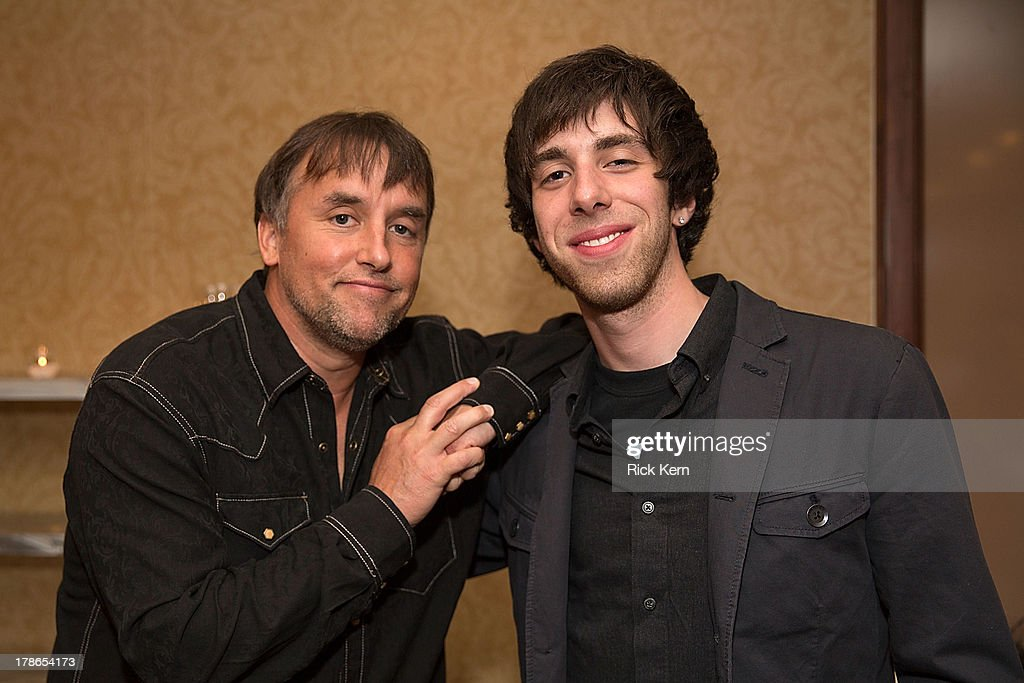 Director <a gi-track='captionPersonalityLinkClicked' href=/galleries/search?phrase=Richard+Linklater&family=editorial&specificpeople=242770 ng-click='$event.stopPropagation()'>Richard Linklater</a> (L) and actor Kevin Clark attend the School Of Rock 10-Year cast reception at Omni Downtown on August 29, 2013 in Austin, Texas.