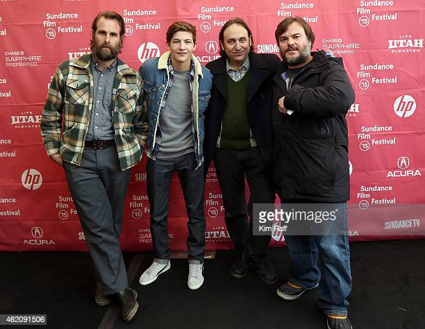 Director Rick Alverson actor Tye Sheridan cowriter and actor Gregg Turkington and actor Jack Black attend the 'Entertainment' Premiere during the...