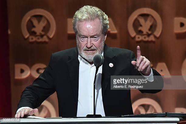 "Director Ridley Scott accepts the Feature Film Nomination Plaque for ""The Martian"" onstage at the 68th Annual Directors Guild Of America Awards at..."